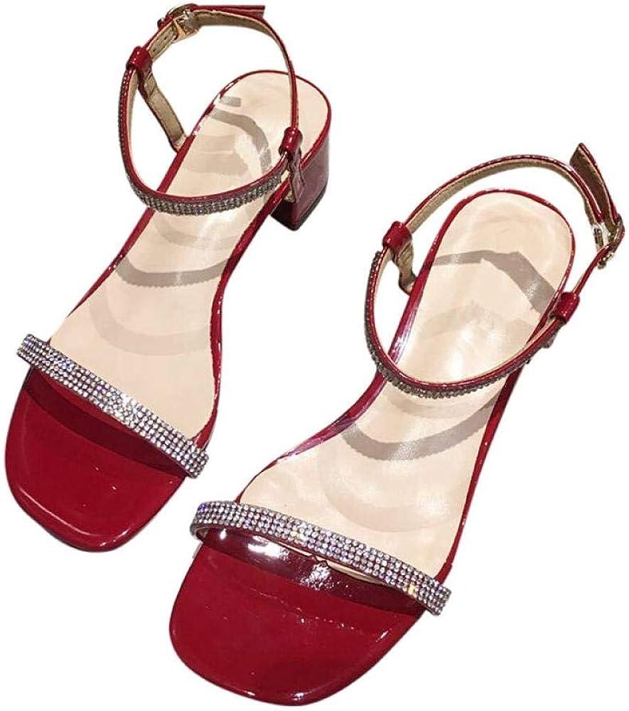 Sandalias De Cristal Femeninas con Gruesas con Una Hebilla De Palabra Sandalias De Tacón Alto Mujeressandalias De Vestir para Mujer Zapatos Y Complementos