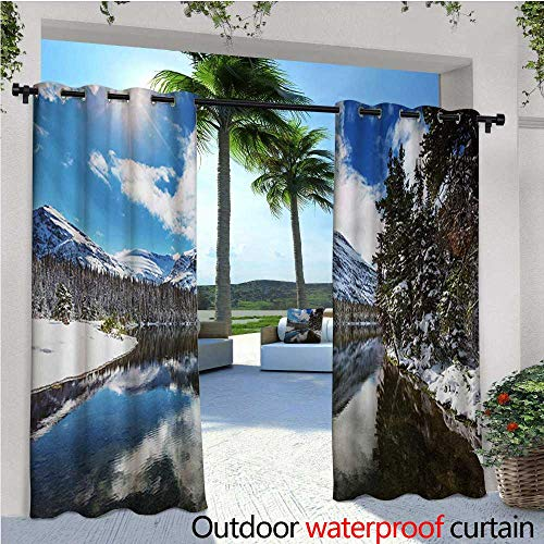 Winter Outdoor Privacy Curtain for Pergola Tranquil View of Glacier National Park in Montana Water Reflection Peaceful Thermal Insulated Water Repellent Drape for Balcony W108