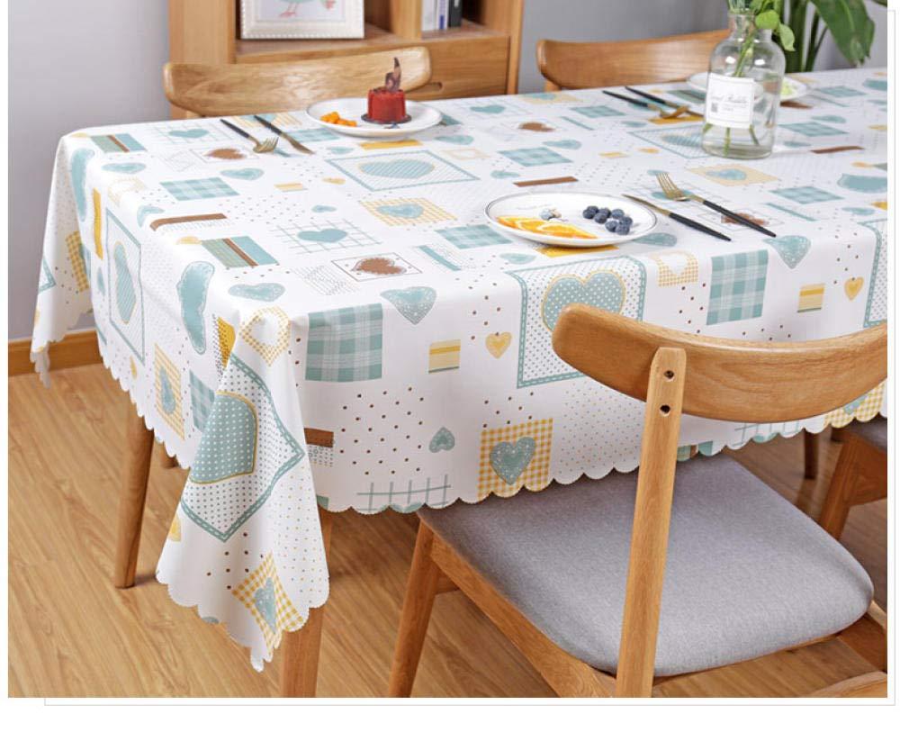 WJJYTX gartentischdecke eckig, Square Table Cover Cloth Tischdecke und Various Sizes-Dirt Repellent Tischdecke PVC Imitation Baumwolle und Leinen Love @ 110 * 160