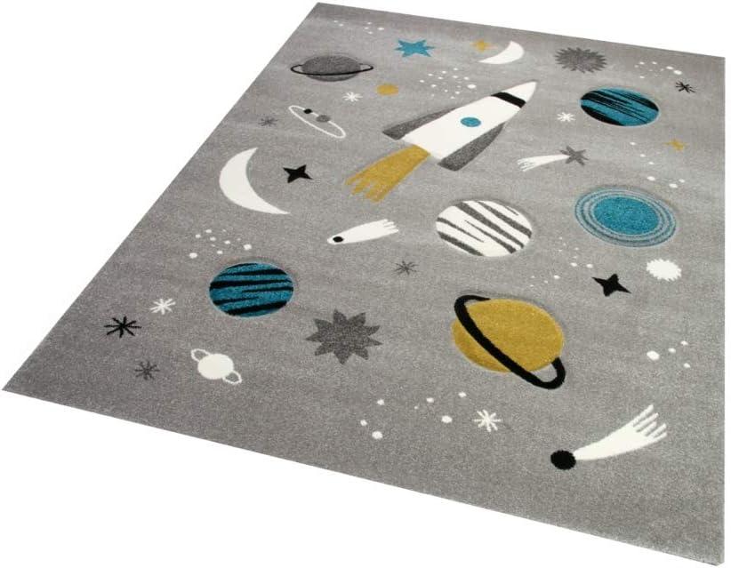Merinos Kinderteppich Weltraum Lernteppich mit Raumschiff Sternen und Planeten in Grau Gr/ö/ße 80x150 cm
