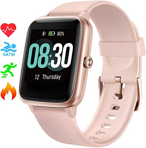 Smart Watch UMIDIGI Uwatch3 Fitness Tracker with 5ATM Waterproof All-Day Heart Rate and Activity Tracking, Sleep Monitoring, Smartwatch for Men Women Compatible with iPhone Android Rose Gold