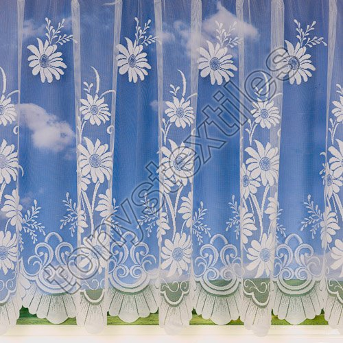 Mirabel Luxury White Sheer WIndow Net Curtain Panel With Rod Pocket Top Sold by The Meter - Daisy 48