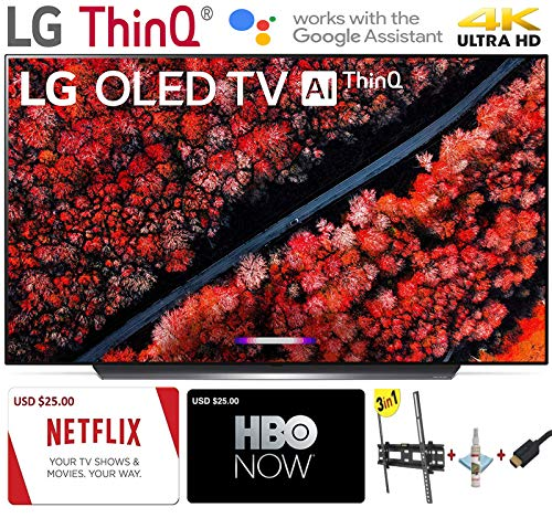 LG Electronics OLED65C9PUA C9 Series 65″ 4K Ultra HD Smart OLED TV (2019) w/$25 Netflix and HBO Now Gift Cards w/3 in 1 Wall Mount kit- Wall Mount, HDMI Cable, TV Cleaning Kit – LG Authorized Dealer.
