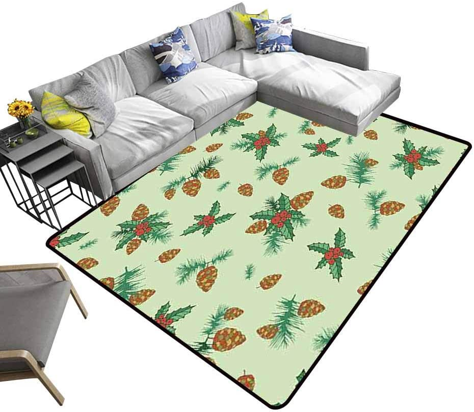 Area Rug Festive Decorative Background lump Pine Branch Holly on a Green Background Realist Print Large Rug Mat for Living Playing Dorm Room Bedroom Room Carpet 7'6x7'6 ft