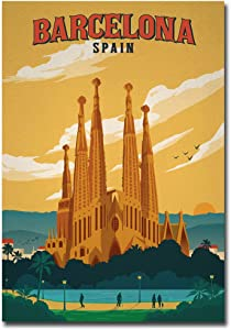 "Barcelona Spain Travel Vintage Art Refrigerator Magnet Size 2.5"" x 3.5"""