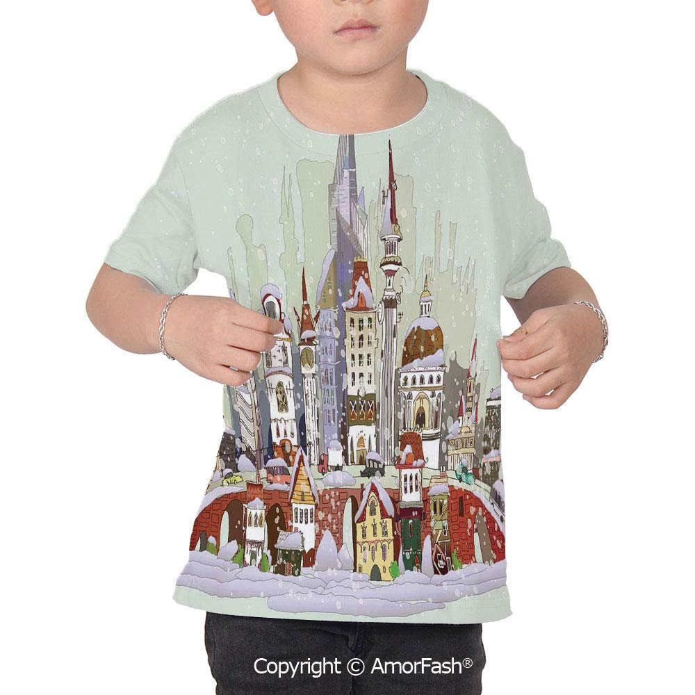 Christmas Childrens Summer Casual T Shirt Dresses Short Sleeve,Noel in The City