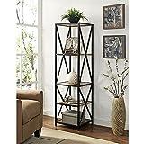 W. Designs 61'' X-Frame Metal and Wood Media Bookshelf Barnwood