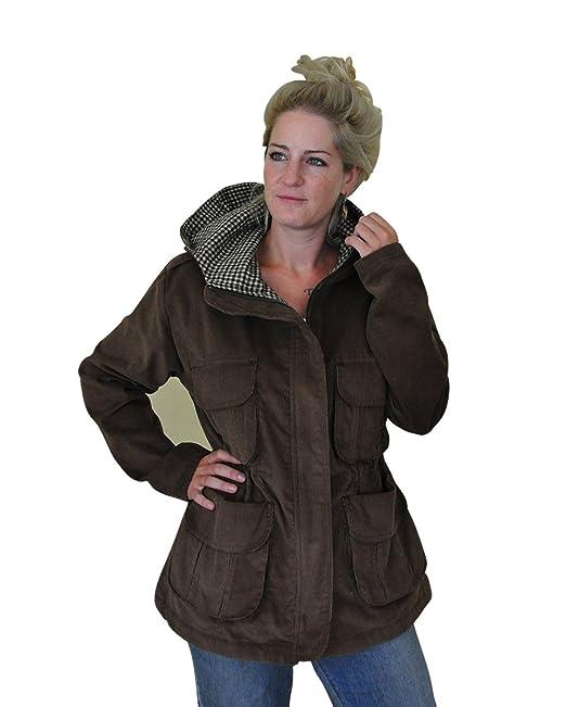 Unica Chaqueta de Pana para mujeres con capucha y forro a cuadros en tallas S,