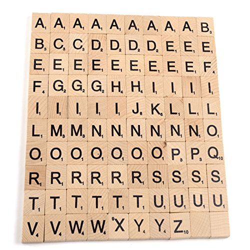 WINGONEER 100PCS Wooden Scrabble Tiles Letter Alphabet Scrabbles Number Crafts English Words Uppercase Letters Mixed