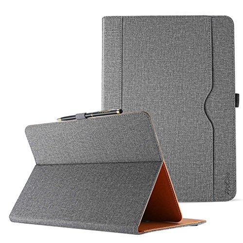 ProCase Universal Case for 9-10 inch Tablet, Stand Folio Case Protective Cover for 9 10.1 Touchscreen Tablet, with Multiple Viewing Angles, Document Card Pocket and Bonus Stylus Pen –Grey