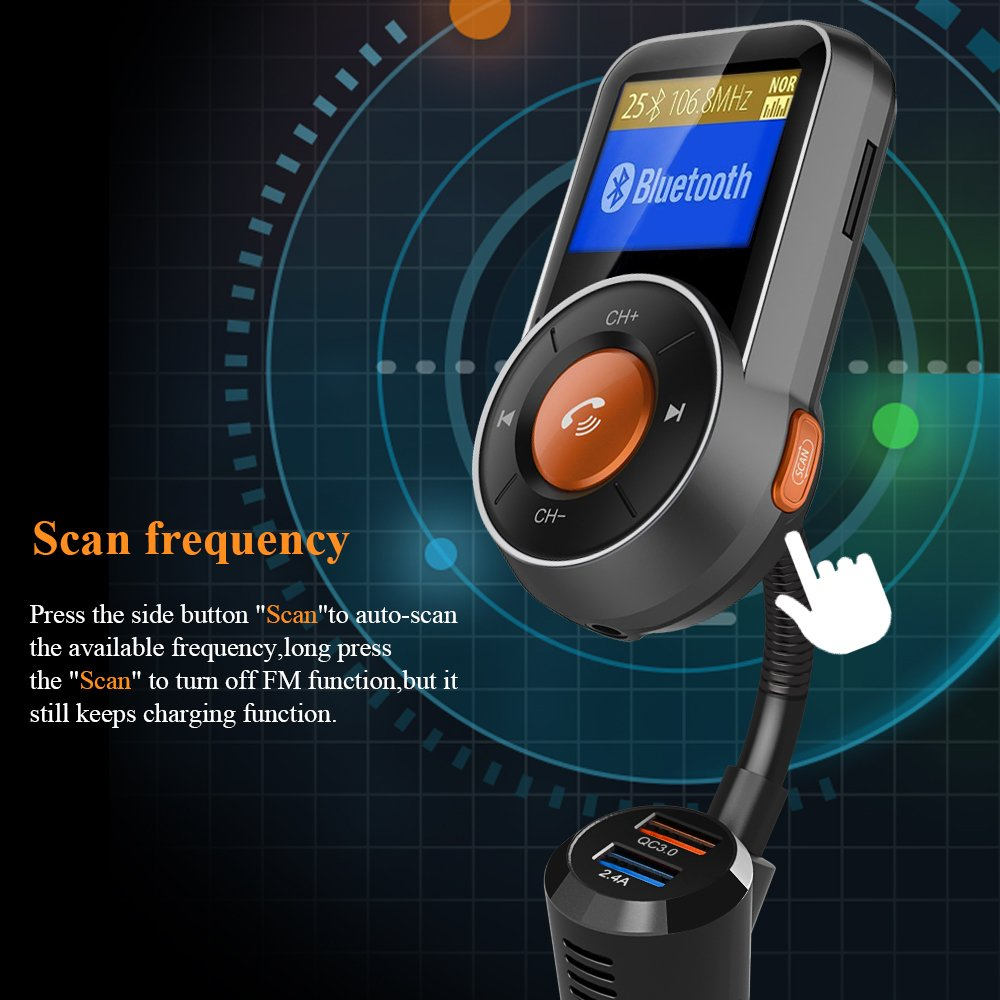 Bluetooth FM Transmitter, FKANT Auto-Scan Bluetooth 4.2 Wireless Radio Audio Adapter Receiver Car Kit MP3 Player, Hands-free, QC3.0/2.4A Dual USB Ports, AUX Input/Output,1.44'' Display, TF Card by FKANT (Image #6)