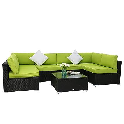 Amazon.com : Kinbor 7-Piece Black All-Weather Rattan Wicker Sofa Set ...