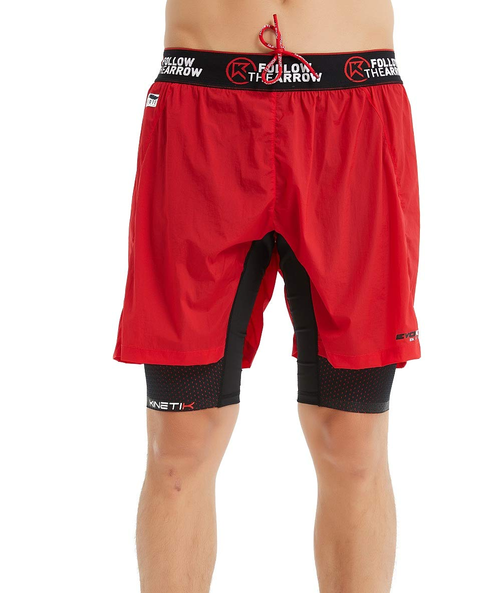 Kinetik Evok Mens Double Layers Shorts,Cross-Country Shorts,Running Shorts,Workout Shorts,Fitness Shorts,Training Shorts (Small, Red)