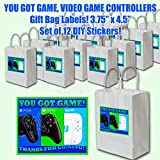 """YOU GOT GAME Video Game Truck Party Favors Supplies Decorations Gift Bag Label STICKERS ONLY 3.75"""" x 4.75"""" -12 pcs"""