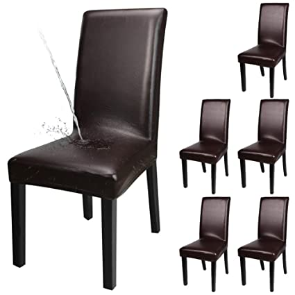 YISUN Dining Chair Covers, Solid Pu Leather Waterproof and Oilproof Stretch Dining Chair Protector Cover Slipcover (Deep Coffee, 6 Pack)