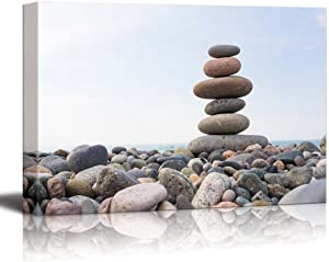 wall26 - Canvas Prints Wall Art - Zen Stones Balance, Pebbles Stack Over Blue Sea | Modern Wall Decor/Home Decoration Stretched Gallery Canvas Wrap Giclee Print. Ready to Hang - 24