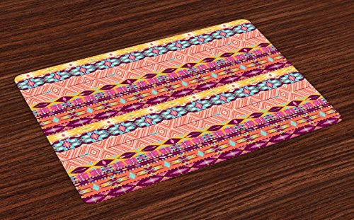 Lunarable Aztec Place Mats Set of 4, Colorful Cultural Art Borders Vintage Abstract Rich Motifs Mayan Mexican, Washable Fabric Placemats for Dining Table, Standard Size, Salmon Fuchsia