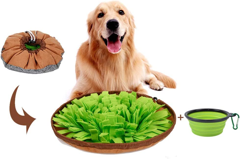 Snuffle Mat for Dogs, Training Toy for Dog Puppy Cat and Small Pet, Interactive Puzzle Games Activity Outdoor Toys to Relief Stress and Anxiety of Your Dog, Smart Brain Treat with Food Bowl Gift