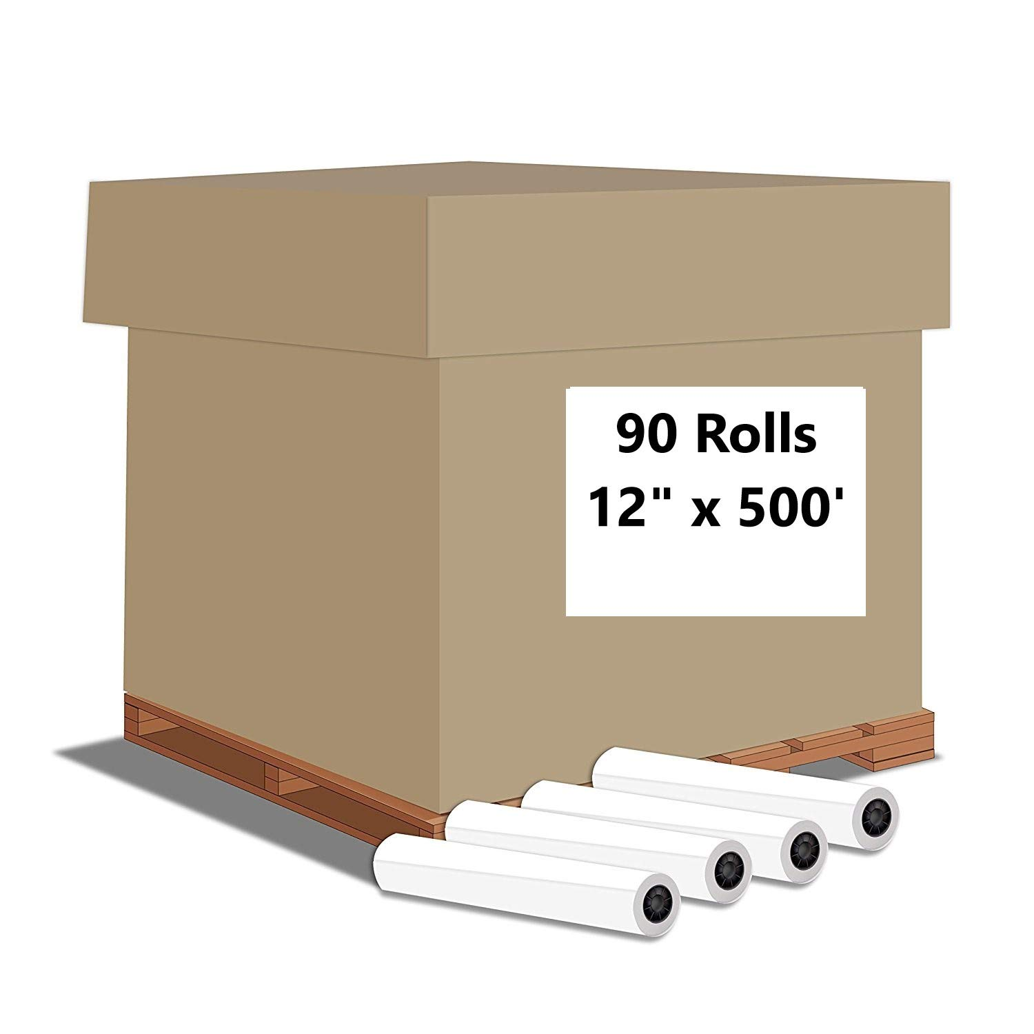 "Alliance Paper Rolls, Bond Engineering, 12"" x 500', 92 Bright, 20lb - 90 Rolls Per Pallet with 3"" Core"