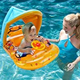 Baby Swimming Pool Float Swim Ring - Hanmun Infant Baby Sit to Swim Floats with Canopy Outdoor Water Toys,Yellow