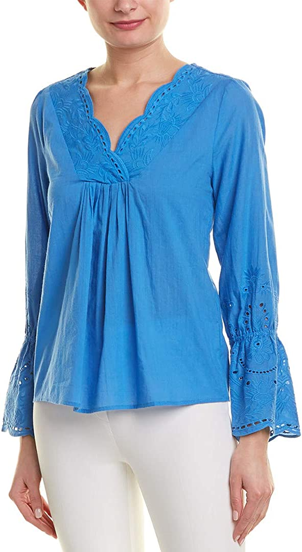 Laundry by Shelli Segal Womens Cotton Bell Sleeves Blouse