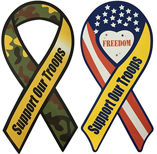Troops Car Flag - Magnetic Ribbons Decal Support Our Troops with American Flag and Army Color Theme for Car, Truck, Office, Home