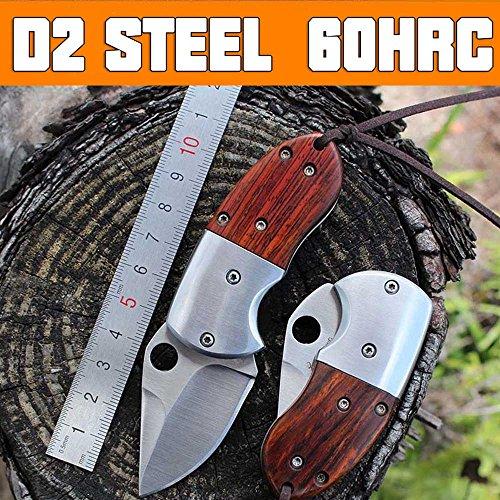 Hunting Wood - Mini Pocket Folding Knife D2 Steel Sharp EDC Tool Wood Handle Men Birthday Gifts