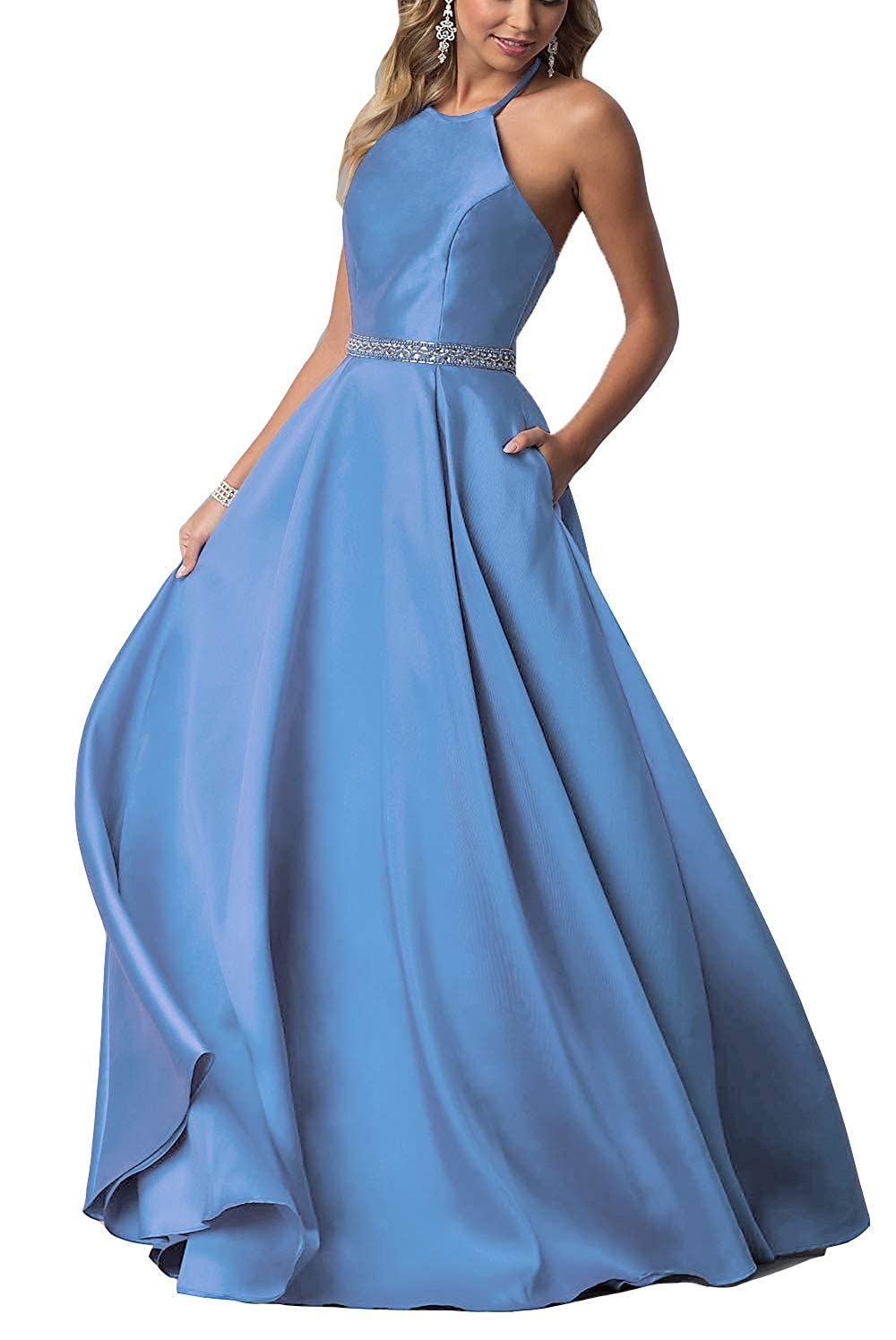 Slate bluee YMSHA Women's Halter Prom Dresses with Pockets Long Satin Crystal Evening Formal Gown O38PM