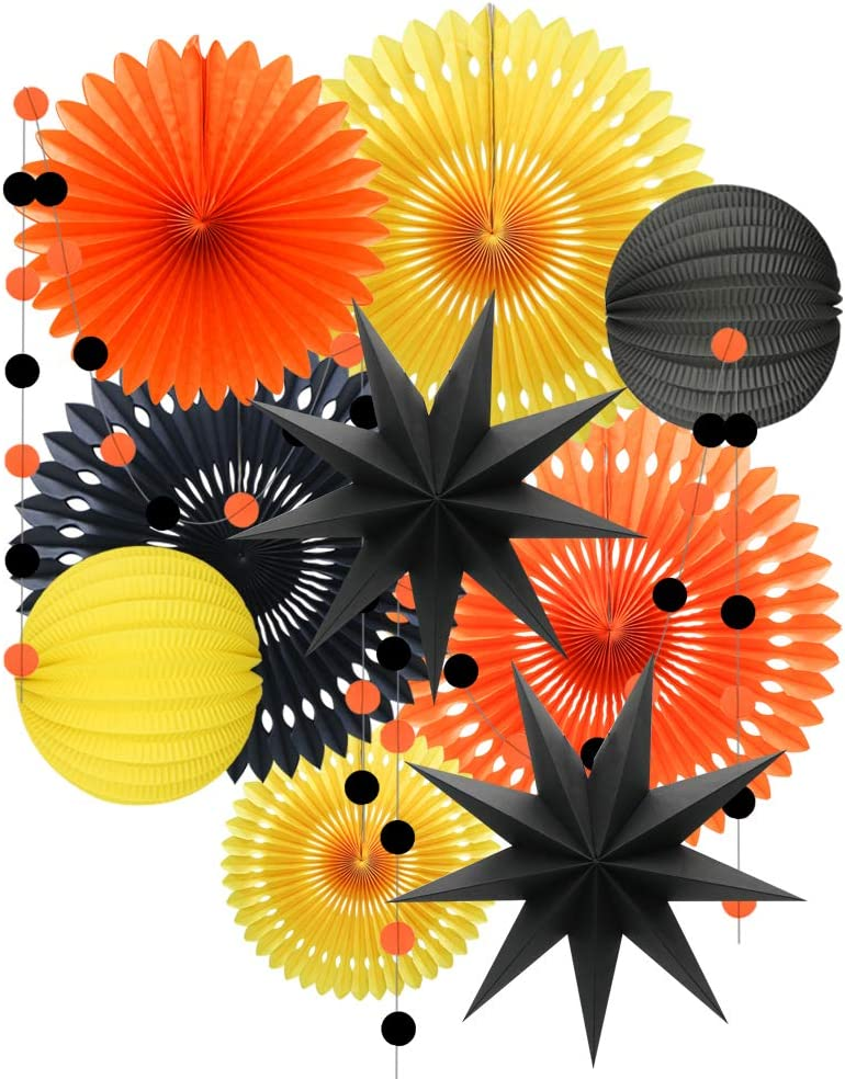 Yellow Orange Black Halloween Decorations, Hanging Tissue Paper Fans Circle Garland Paper Lanterns for Graduation Wedding Anniversary Birthday Backdrop Decor