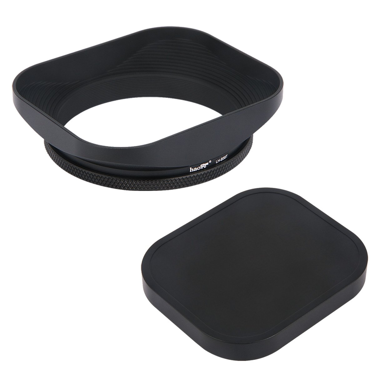 Haoge LH-B58T 58mm Square Metal Screw-in Mount Lens Hood Shade with Cap for 58mm Canon Nikon Sony Leica Leitz Carl Zeiss Voigtlander Nikkor Fujifilm Olympus Lens and Other 58mm Filter Thread Lens by Haoge