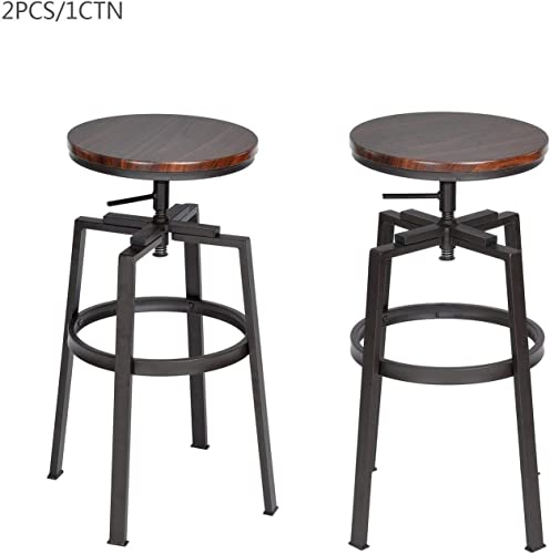 FurnitureR 24-29 INCH Swivel Bar Stool Counter Height Walnut PVC Veneer Set of 2
