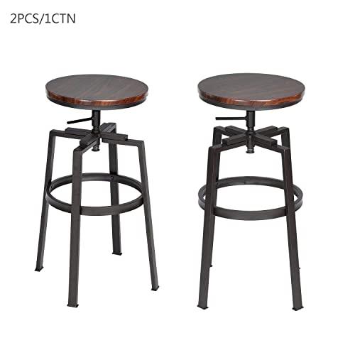 FurnitureR 24-29 INCH Swivel Bar Stool Counter Height Walnut PVC Veneer Set of 2
