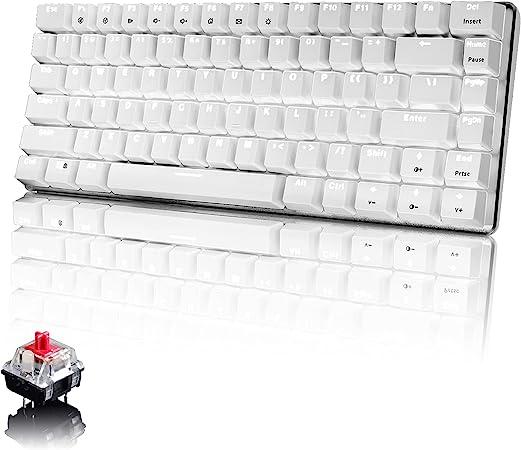 PC Teclado Mecánico para Juegos, Retroiluminación LED Blanca USB con Cable de 82 Teclas, Anti-Fantasma, Teclado Ergonómico de Computadorapara Jugar ...