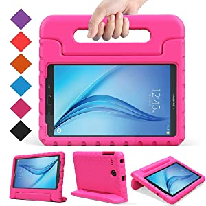 BMOUO Kids Case for Samsung Galaxy Tab E 8.0 inch - EVA Shockproof Case Light Weight Kids Case Super Protection Cover Handle Stand Case for Kids Children for Samsung Galaxy TabE 8-inch Tablet - Rose