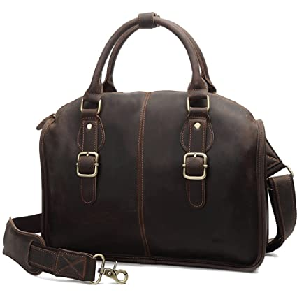 9d4db24bcff4 Amazon.com: FeliciaJuan Briefcases Vintage Style Leather Business ...