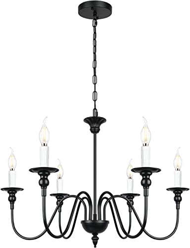 6-Light Black Farmhouse Chandelier Rustic Pendant Light Fixture