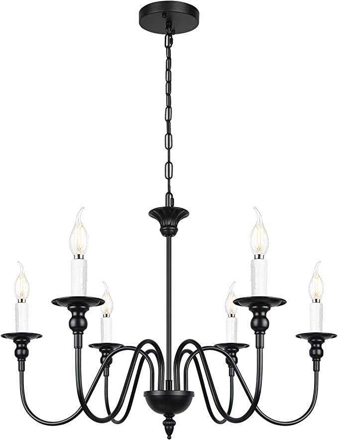 6 Light Black Farmhouse Chandelier Rustic Pendant Light Fixture For Kitchen Island Dinning Room Living Room Bedroom Hallway Foyer Amazon Com
