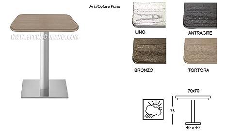 GBSHOP Tavolo da Bar Piano Rattan 70x70 cm Gamba Centrale h 75 Dodo ...