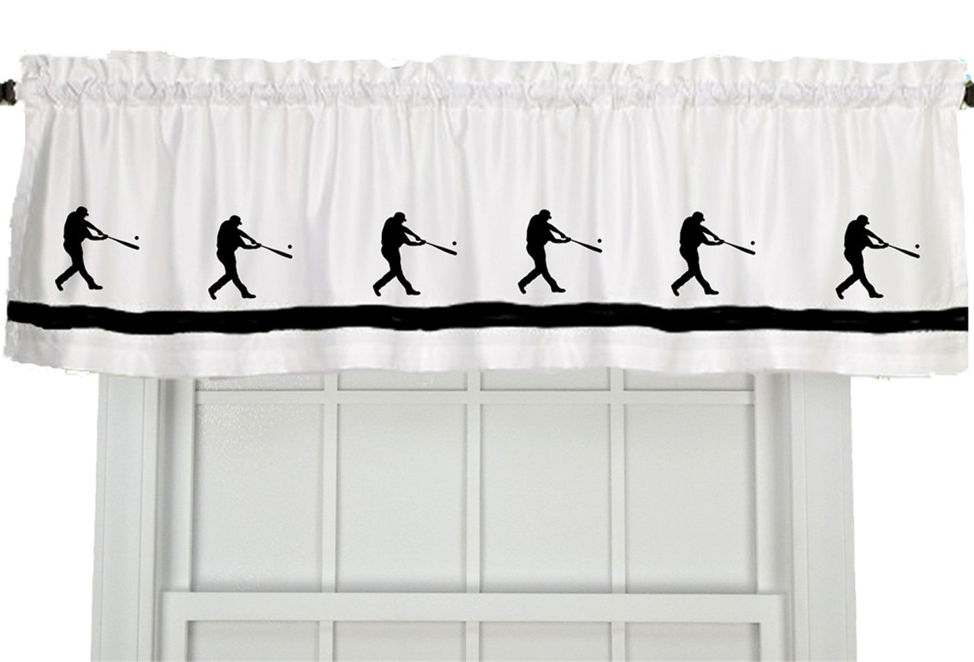Baseball Player Window Valance / Window Treatment - In Your Choice of Colors - Custom Made