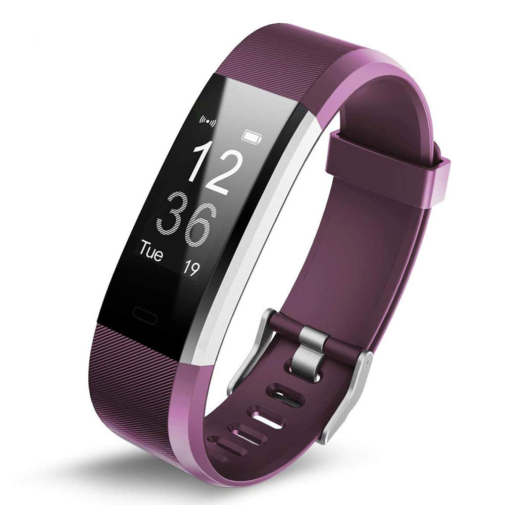 Heart Rate Smart Tracker Watch,MeiLiio 115PLUS Sports Activity Bracelet Fitness Wristband with Slim Replacement Band for Women,Men Compatible with Apple IOS&Andriod Smartphones - Purple