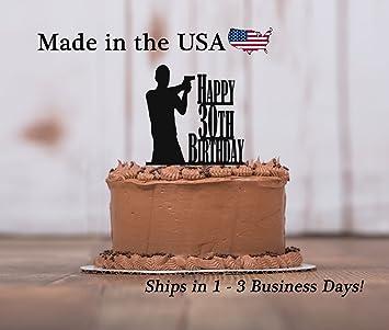 Gun Birthday Cake Topper With Free Keepsake Base Any Age Man Shooting Mans