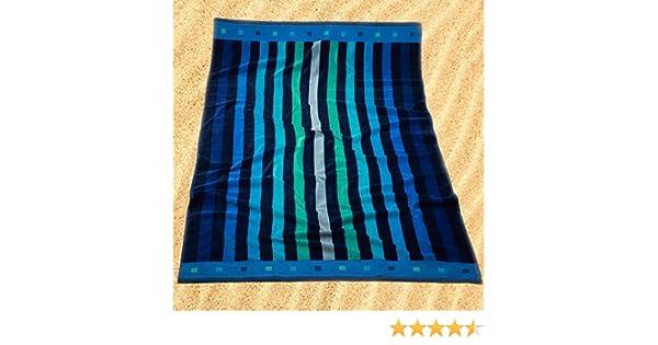 Burrito Blanco Toalla de Playa/Toalla de Piscina 174 Grande para Hombre o Mujer Algodón 100% Tacto de Terciopelo de 95x170 cm con Estampado de Rayas, ...