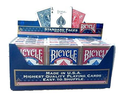 Bicycle Paquete de 12 Tarjetas de Poker estándar (6 Azul/6, Color Rojo)