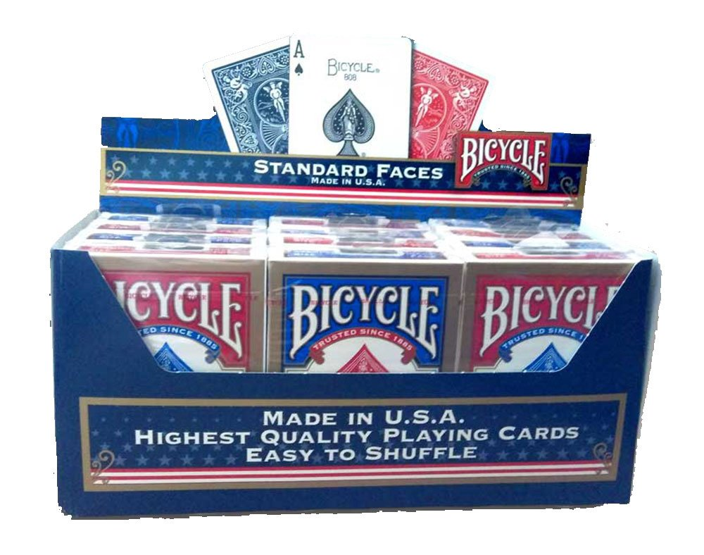 Bicycle STANDARD 12 Decks Pack US Playing Cards Company, Red and Blue