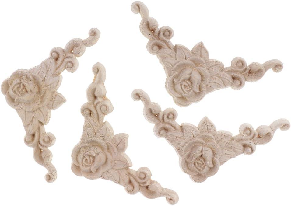 4 Piezas Aplique de Tallado en Madera Ideal para Pegar en Pared,Puertas Decorativos - Madera,8x8Cm