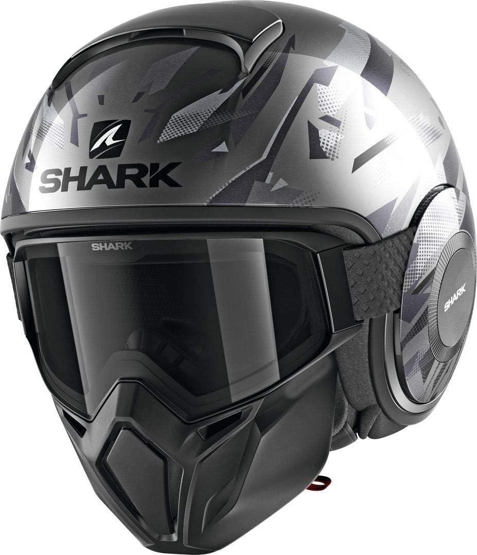 M Noir//Gris Shark Casque moto STREET DRAK KANHJI AKA