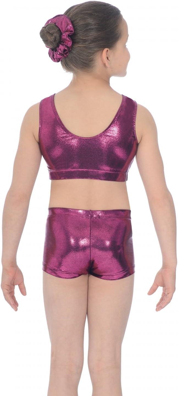 The Zone Chic Shiny Nylon Lycra Gymnastics Crop Top with Crystals 30 Mermaid