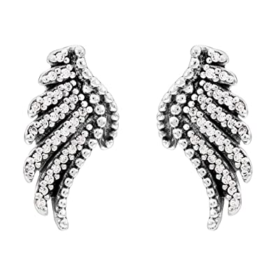6e9423059 Image Unavailable. Image not available for. Color: Pandora Majestic  Feathers Stud Earrings - Sterling Silver ...