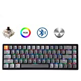Keychron K6 Hot Swappable Wireless Bluetooth 5.1/Wired Mechanical Gaming Keyboard, 65% Compact 68-Key RGB LED Backlit N-Key Rollover, Aluminum Frame for Mac Windows Gateron Brown Switch