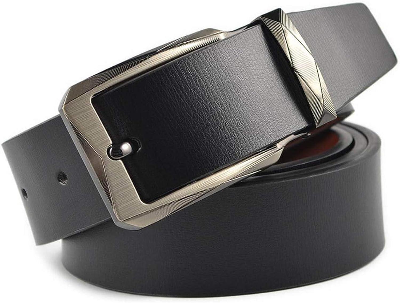 Men Leather Belt Pin Buckle Black Business Trouser Strap Cinturones Hombre Cinto